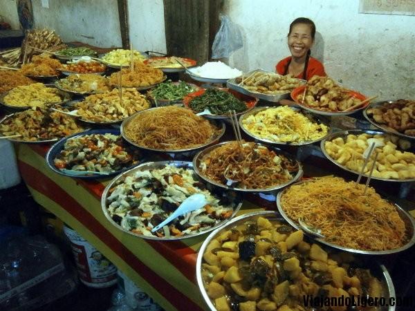 Buffet de comida en luang Prabang