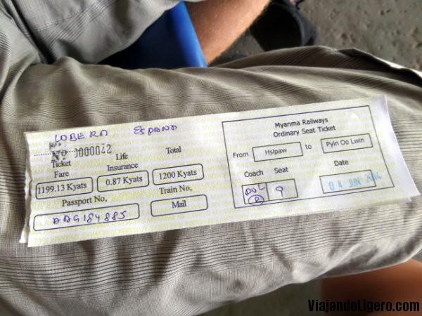 Ticket tren a Pyin Oo Lwin
